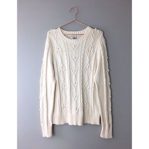 Hannah XL Sweater Cream Cable Bobble Knit Pullover